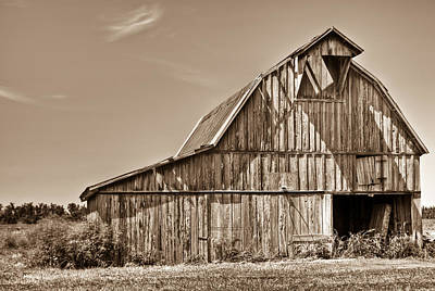 Old Barn In Sepia Art Print by Douglas Barnett