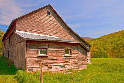 Art Print featuring the photograph Old Barn In The Valley by Nancy De Flon