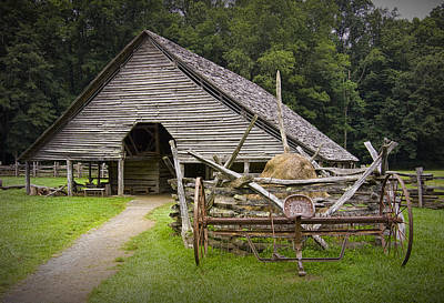 Split Rail Fence Photograph - Old Barn On A Farm In The Smokey Mountains by Randall Nyhof