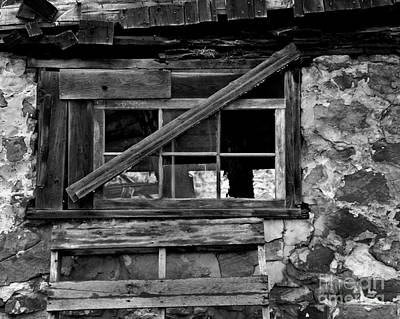 Balck And White Photograph - Old Barn Window by Perry Webster
