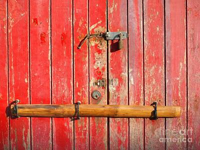 Bamboo Photograph - Old Barred Red Door by Yali Shi