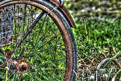 Photograph - Old Bike Wheel by Dan Friend
