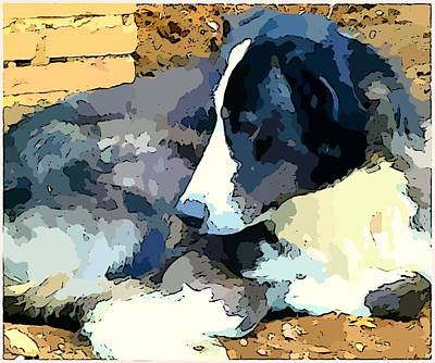 Puppies Digital Art - Old Blue by Mindy Newman