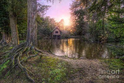 Photograph - Old Boat House And Lake Sunset by Yhun Suarez