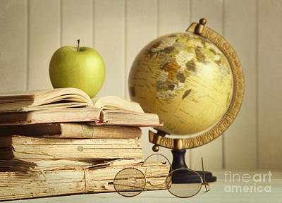 Photograph - Old Books With Apple by Sandra Cunningham