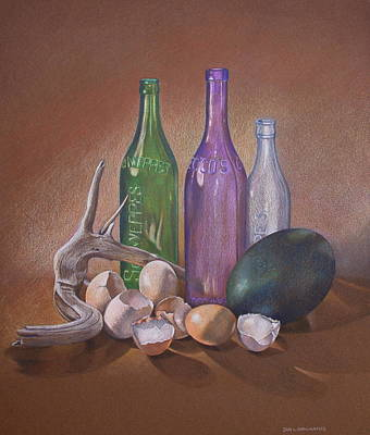 Old Bottles Egg Shells And Driftwood  Art Print by Jan Lawnikanis