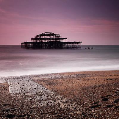 Fire Burns Photograph - Old Brighton Pier by Nina Papiorek