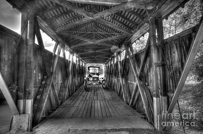 Old Car On Covered Bridge Art Print by Dan Friend
