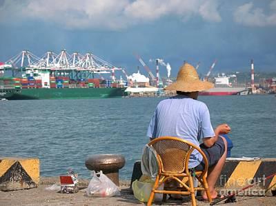 Bamboo Chair Photograph - Old Chinese Man Fishing by Yali Shi