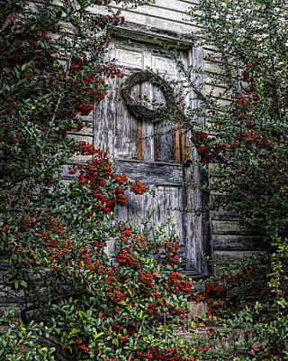 Photograph - Old Christmas Church Door by Steve Hurt
