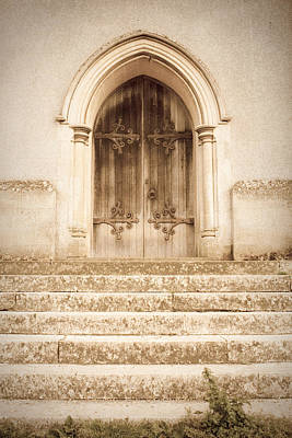 Paving Photograph - Old Church Door by Tom Gowanlock