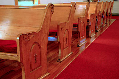 Carving Photograph - Old Church Pews by LeeAnn McLaneGoetz McLaneGoetzStudioLLCcom