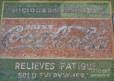 Art Print featuring the photograph Old Coca Cola Painted Brick Wall by Doris Blessington