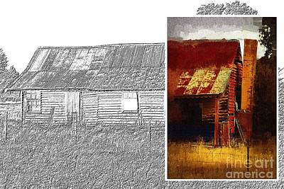 Digital Art - Old Cottage Diptych 1 by Fran Woods