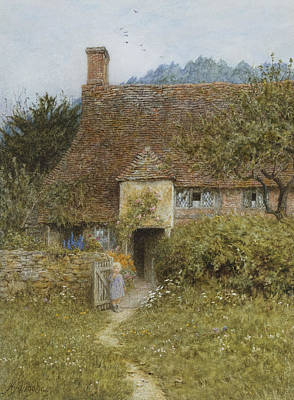Building Exterior Painting - Old Cottage Witley by Helen Allingham