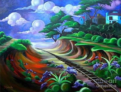 Train Tracks Painting - Old Del Mar Tracks by Jerri Grindle