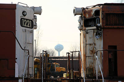 Photograph - Old Engines And A Smiling Water Tower by Mark J Seefeldt