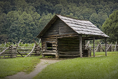 Split Rail Fence Photograph - Old Farm Building In The Smokey Mountains by Randall Nyhof