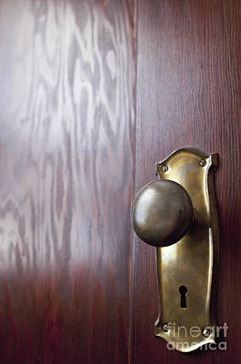 Natural Finish Photograph - Old-fashioned Doorknob On A Wooden Door by Thom Gourley/Flatbread Images, LLC