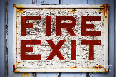 Old Fire Exit Sign Print by Richard Thomas