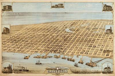 Old Galveston Map Art Print by Pg Reproductions