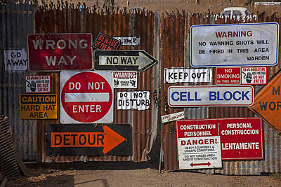 Old Gate With Warning Signs Art Print by Garry Gay