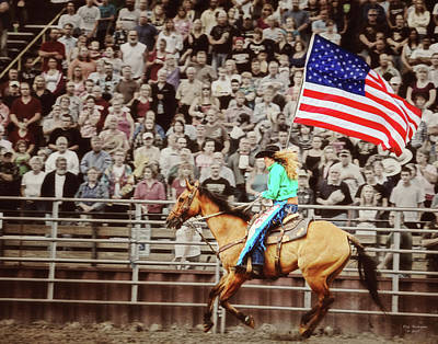 Photograph - Old Glory At County Fair Rodeo by Peg Runyan