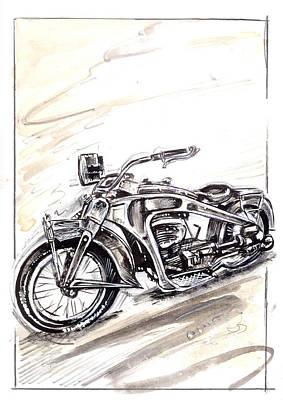 Old Glory Drawing - Old Glory Bike by Evgeny Kudinov