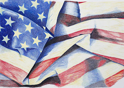 Veteran Drawing - Old Glory by Garry McMichael