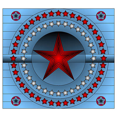 Art Print featuring the digital art Old Glory Star by Mario Carini