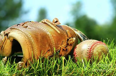 Baseball Close-up Photograph - Old Glove And Baseball  by Sandra Cunningham