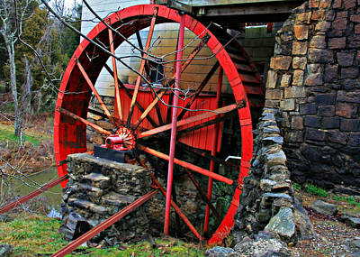 Photograph - Old Guilford Mill's Red Wheel by Sheila Kay McIntyre