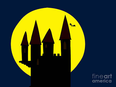 Fantasy Drawings - Old Haunted Castle In Full Moon by Michal Boubin