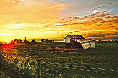 Shed Digital Art - Old Horse Shed At Sundown by Randall Branham