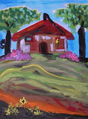 Red Roof Drawing - Old House With Two Trees by Mary Carol Williams