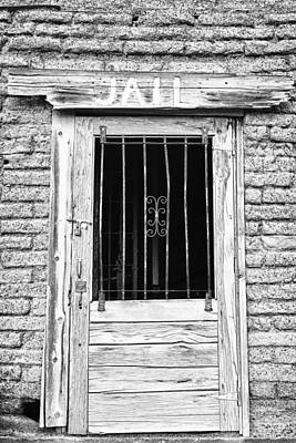 Photograph - Old Jailhouse Door In Black And White by James BO  Insogna
