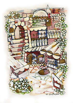 Green Painting - Old Jerusalem Courtyard Modern Artwork In Red White Green And Blue With Rooftops Fences Flowers by Rachel Hershkovitz