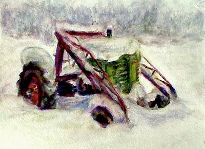 Painting - Old John Deere In Snow - Watercolor Painting by Quin Sweetman