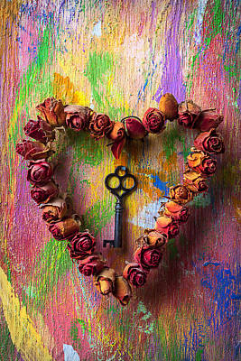 Old Key And Rose Heart Print by Garry Gay