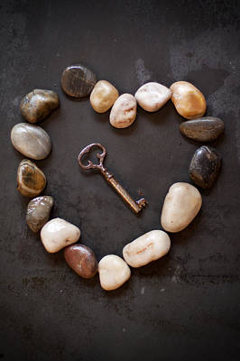 Photograph - Old Key In Heart Of Stones by Ethiriel  Photography
