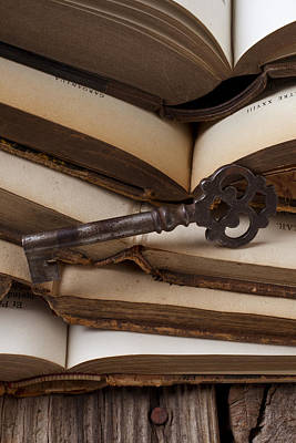 Old Key On Books Art Print by Garry Gay