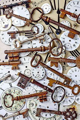 Old Keys And Watch Dails Art Print