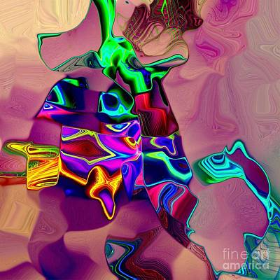 Abstract Design Digital Art - Old Lady And The Dog by Klara Acel
