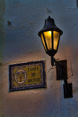 Old Lamp On A Colonial Building In Old Cartagena Colombia Art Print
