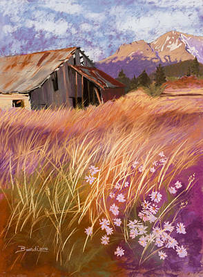Pastel - Old Land Trust Barn Mount Shasta by Janet Biondi