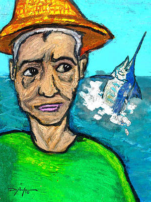 Blue Marlin Mixed Media - Old Man And The Sea by William Depaula
