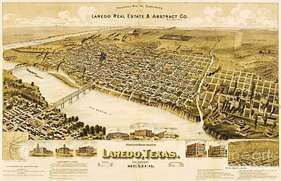 Texas Drawing - Old Map Laredo Texas by Pg Reproductions