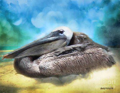 Old Mr. Pelican Art Print by Rhonda Strickland