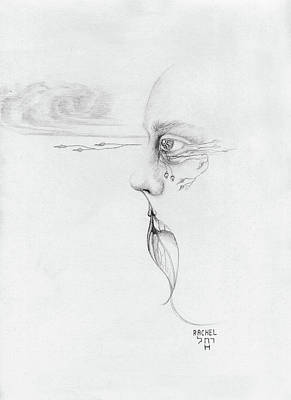 Tears Drawing - Old Nature Face Black And White Art Looking Into Cloud  L Leaf Beard Fantasy Flower Tear Surreal by Rachel Hershkovitz