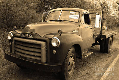 Old Nostalgic American Gmc Flatbed Truck . 7d9821 . Sepia Art Print by Wingsdomain Art and Photography